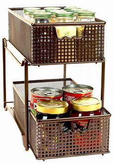 2 tier basket organizer drawer sink cabinet sliding