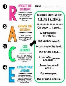 Writing Strategy R A C E To Answer With Evidence Writing Strategies By