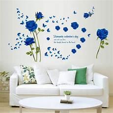 fashion blue flower removable pvc wall sticker