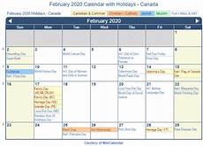 2020 Calendar Canada Print Friendly February 2020 Canada Calendar For Printing
