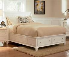 Coastal Bedroom Furniture White Sleigh Storage Bedroom Set 201309