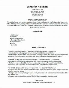 New Bartender Resume Professional Bartender Resume Templates To Showcase Your