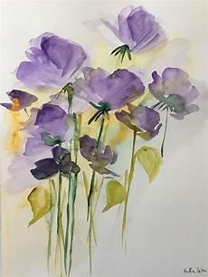 original aquarell aquarellmalerei bild unikat wiesenblumen