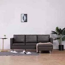 vidaxl 3 seater sofa with cushions gray faux leather home