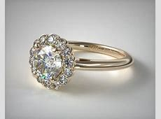 Floral Halo Engagement Ring   14K Yellow Gold   James