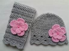 crochet baby toddler hat and scarf set gift grey pink