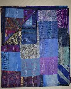 handmade kantha quilt vintage patchwork silk sari quilt