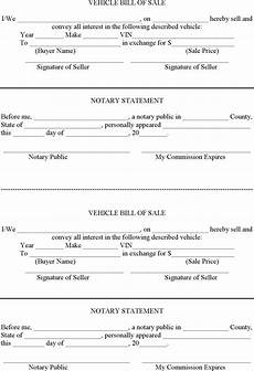 Bill Of Sale With Notary 7 Vehicle Bill Of Sale Form Free Download