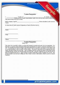 Resign Later Free Printable Trustee Resignation Form Generic