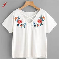 flower embroidery shirt sleeve tees