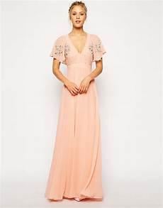 flutter sleeve maxi dress cookbooks asos flutter sleeve beaded maxi dress in pink lyst