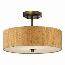 Copper Drum Light Fixture Bronze Ceiling Light With Drum Cork Shade 16 Inches Wide
