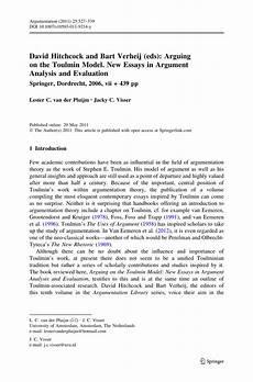 Argument Analysis Essay Pdf David Hitchcock And Bart Verheij Eds Arguing On