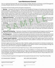 Lawn Care Contracts Samples Tips On Writing Turf Contracts And Landscape