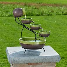 Solar Waterfall Lights Smart Solar Ceramic Solar Cascade Fountain With Kiwi And