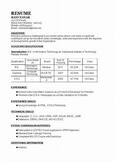 Experience Format Resume 1 Year Experience Resume Format Templates At