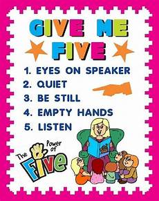 Give Me Five Rules Create A Give Me Five Poster Classroom Rule Poster