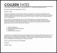 Sample Letter To Recruiter For Job Technical Recruiter Cover Letter Sample Cover Letter