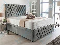 plush velvet chesterfield divan bed set memory mattress