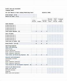 Examples Of Profit And Loss Simple Monthly Profit And Loss Statement