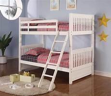white finish modern bunk bed w guard rails