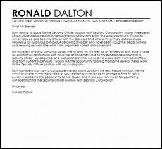 Cover Letter For Security Position Security Officer Cover Letter Sample Cover Letter