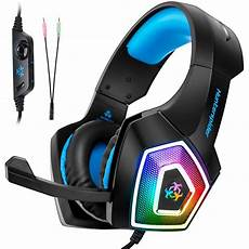 Gaming Headphones With Lights Hunterspider V1 Wired Gaming Headset 7 Color Led Lights