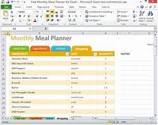 Excel Template Planning Free Monthly Meal Planner For Excel