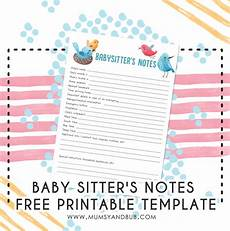 Babysitter Notes Template Baby Sitter S Notes Free Printable Template Mumsy And Bub