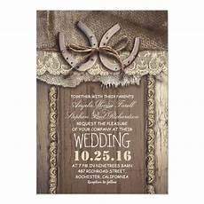 Rustic Country Wedding Invitations Rustic Country Horseshoes And Burlap Lace Wedding