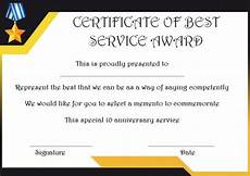 Years Of Service Certificate 10 Years Service Award Certificate 10 Templates To Honor