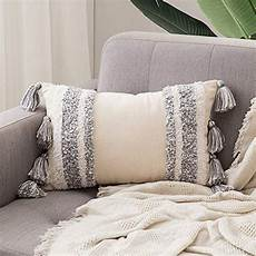 miulee tasseled cushion covers bohemian indian embroidered