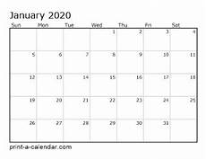 Monthly 2020 Calendar Printable Download 2020 Printable Calendars