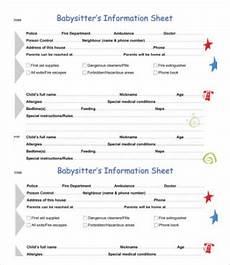 Babysitter Notes Template Babysitter Information Sheet Template 7 Free Word Pdf