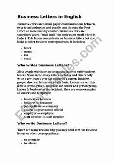 Business English Letter Sample Business Letters In English Esl Worksheet By Moumou