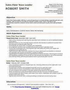 Target Flow Team Member Job Description Sales Floor Team Leader Resume Samples Qwikresume