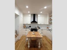 My kitchen!! Tasmanian oak floorboards    open timber shelving    white modern farmhouse kitchen