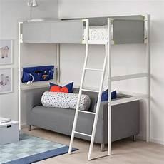 vitval loft bed frame white light gray ikea