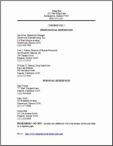 Reference In Resume Format Resume Reference Page Occupational Examples Samples Free