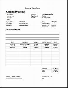 Employee Expenses Claim Form Template Expense Claim Form Template For Excel Word Amp Excel Templates