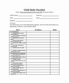 Example Of A Checklist Child Skills Sample