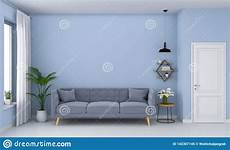 Grey Sleeper Sofa 3d Image by Grey Sofa In Blue Living Room 3d Rendering Stock