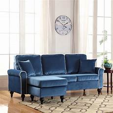 Blue Sectional Sofa 3d Image by Traditional Small Space Blue Velvet Sectional Sofa With