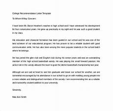 High School Letter Of Recommendation Template Sample College Recommendation Letter 14 Free Documents