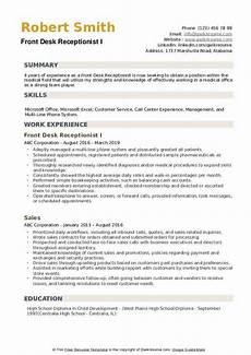 Resume For Front Desk Position Front Desk Receptionist Resume Samples Qwikresume