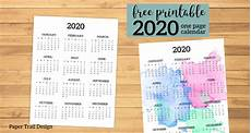 2020 Year At A Glance Calendar Calendar 2020 Printable One Page Paper Trail Design