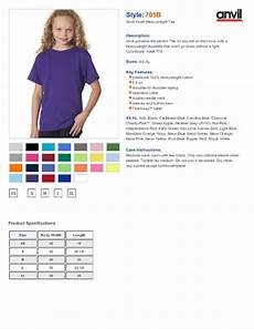 Anvil T Shirts Size Chart Anvil 705b Youth 5 4 Oz Cotton T Shirt 2 94 Youth S T