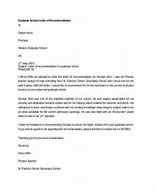 Recommendation Letter Template For Graduate School Free 20 Sample Letter Of Recommendation In Ms Word Pdf