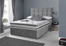 4ft small silver crushed velvet divan bed set