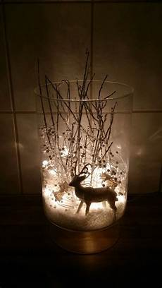 Fake Christmas Tree With Lights I Took A Vase Fake Snow A White Glimmer Reindeer Some